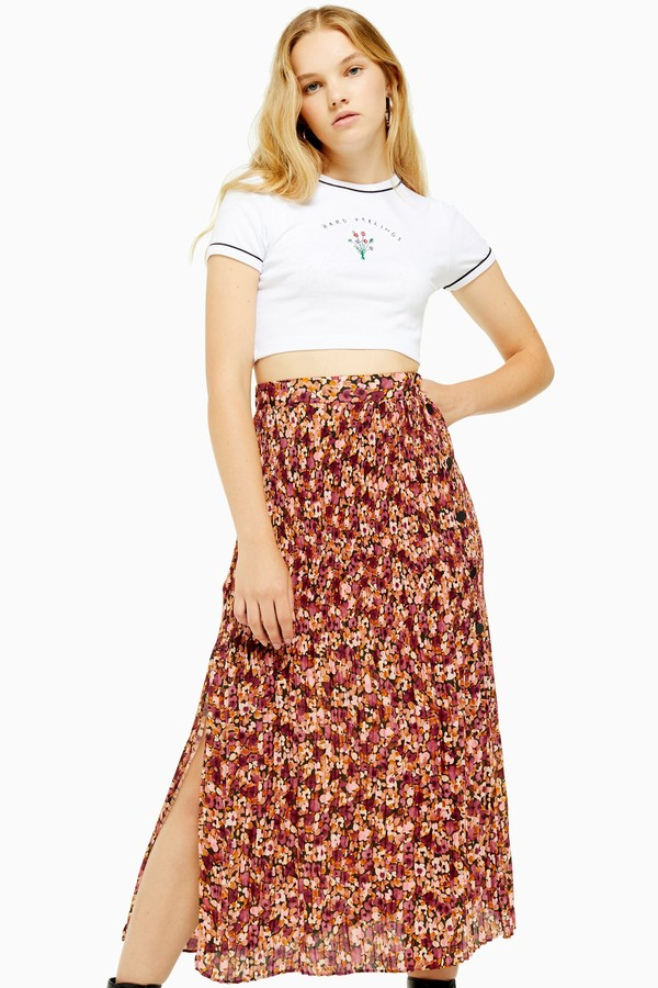 Womens Floral Pleat Side Button Midi Skirt - Multi