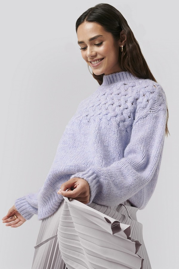 NA-KD Cable Detail Knitted Sweater Purple