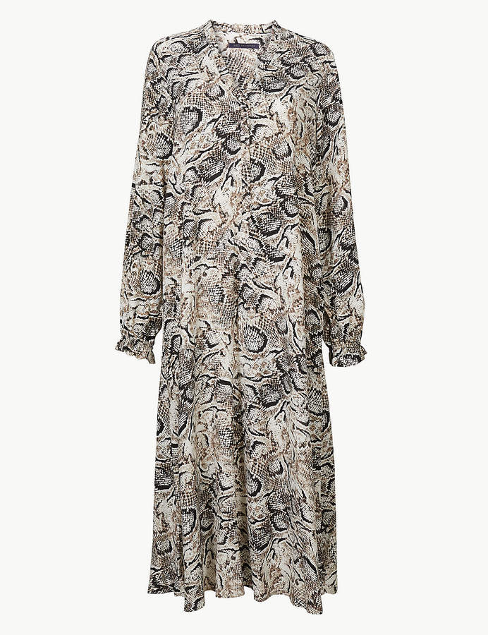 M&S Collection Animal Print Long Sleeve Relaxed Midi Dress