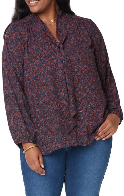 NYDJ - printed blouse with neck tie
