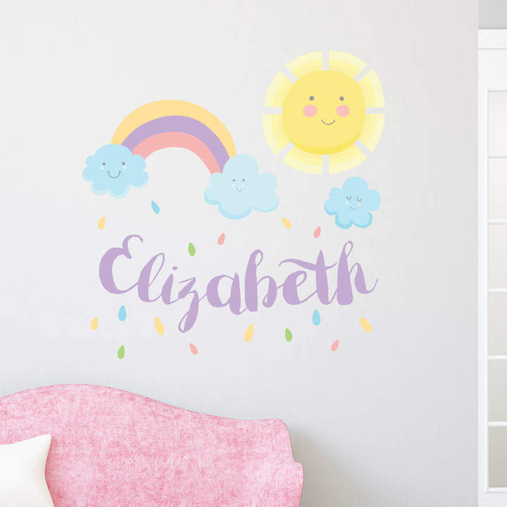 V&C Designs Personalised Happy Sun And Rainbow Wall Sticker