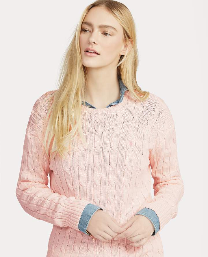 Ralph Lauren Pink Pony Cable Cotton Sweater