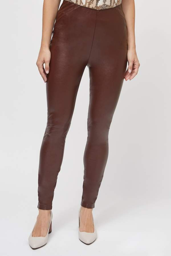 Womens Next Berry Faux Leather Leggings - Red