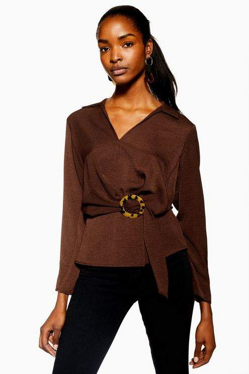 Topshop Womens Horn Buckle Collar Blouse - Chocolate