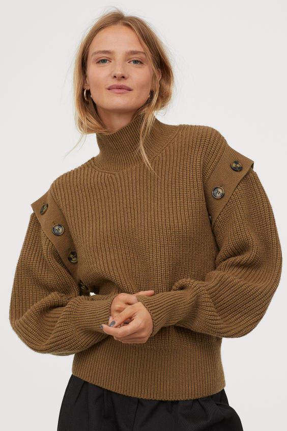 Rib-knit wool-blend jumper