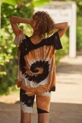 UO Black + Orange Tie-Dye Oversized T-Shirt - orange XS at Urban Outfitters