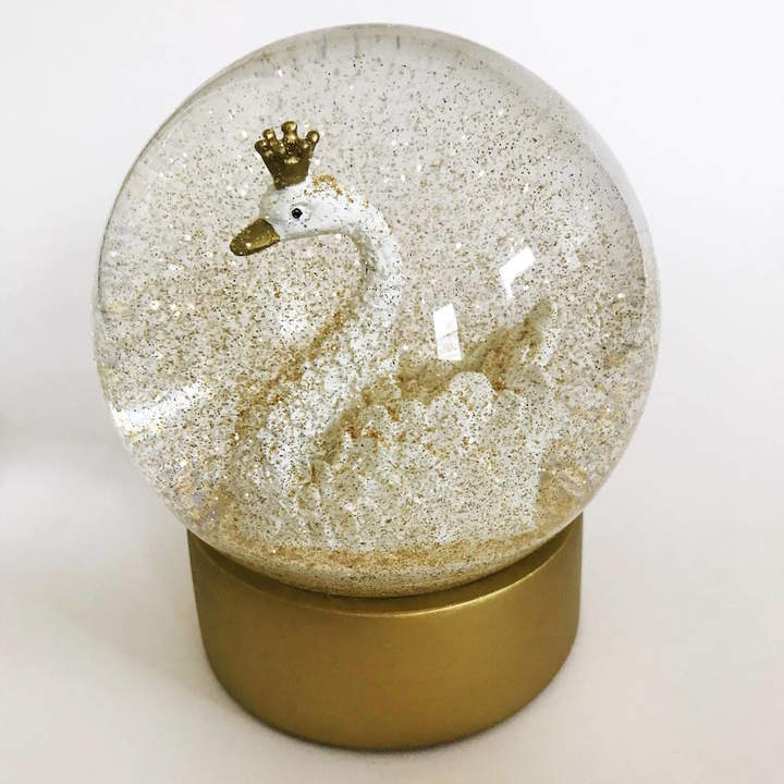 French Grey Interiors Swan Snow Globe