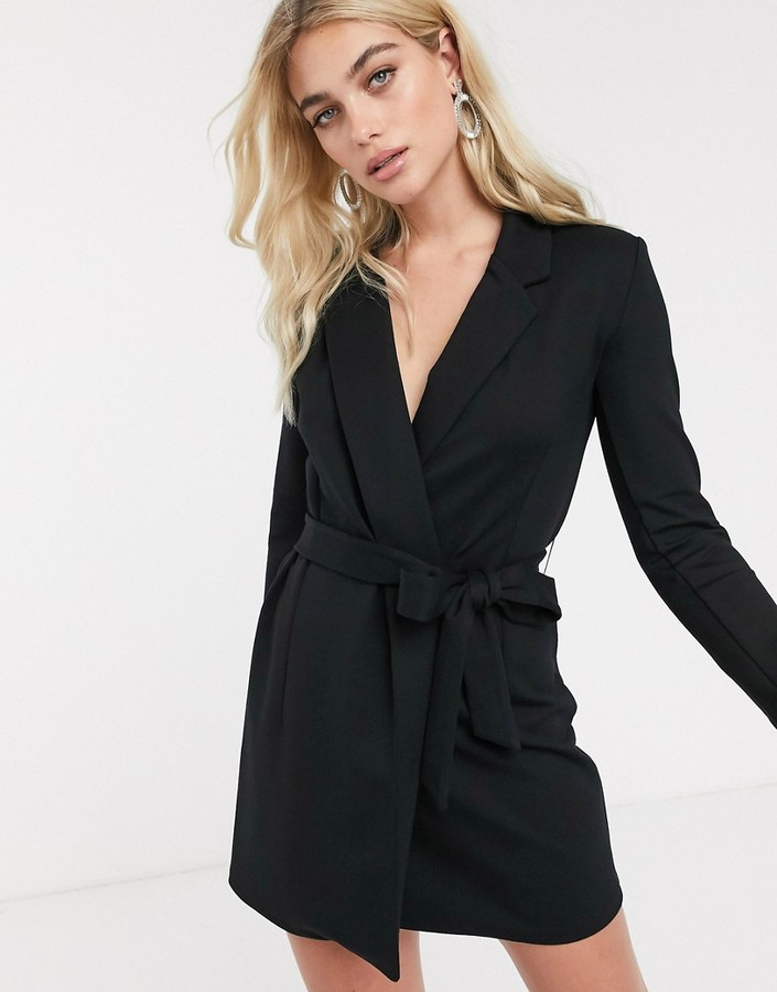 French Connection tuxedo mini dress-Black