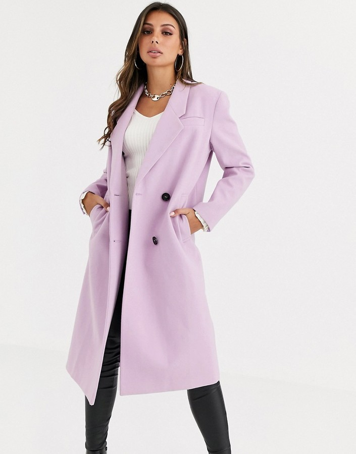 ASOS DESIGN hero longline maxi coat in lilac