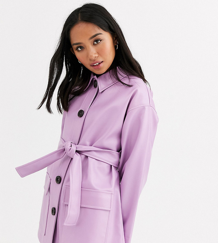 Asos Petite ASOS DESIGN Petite button through leather look belted jacket in lilac