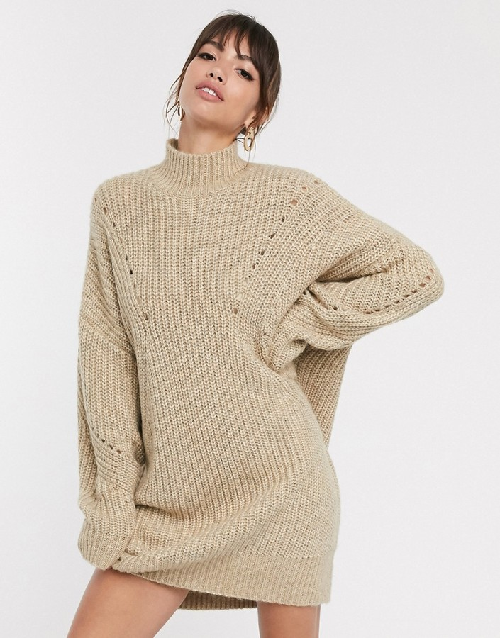 Asos Design ASOS DESIGN oversized relaxed jumper dress with stitch detail-Beige