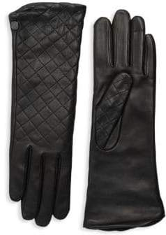Agnelle Women's Plain Quilted Leather Gloves