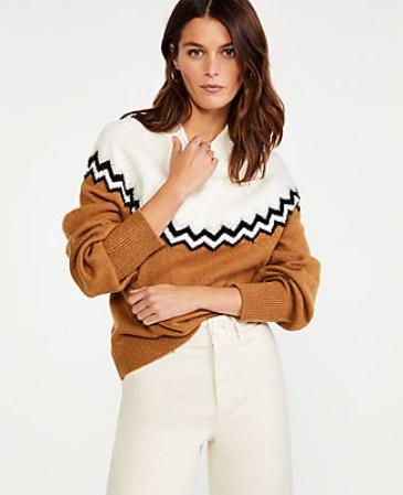Ann Taylor zigzag mock neck sweater