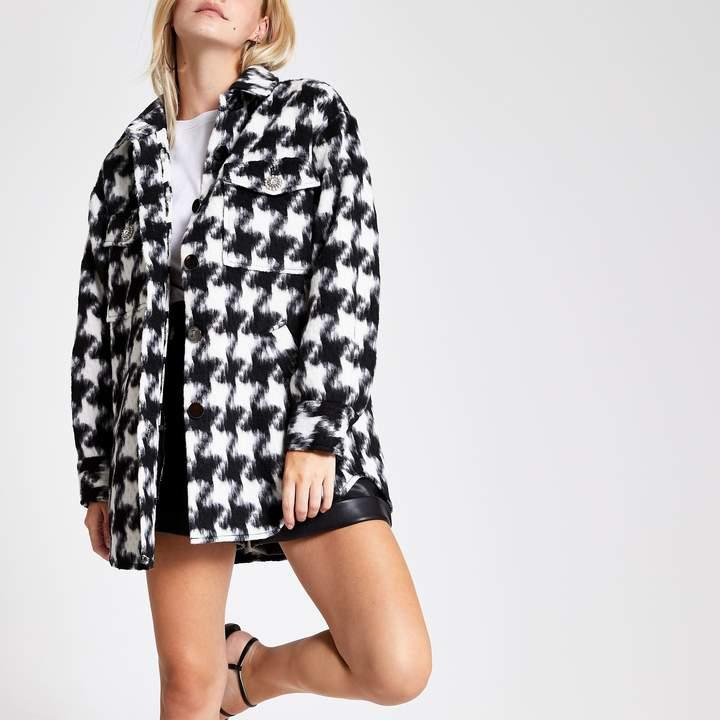 River Island Womens Petite Black dogtooth long sleeve jacket