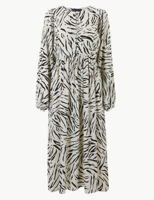 Animal Print Long Sleeve Relaxed Midi Dress