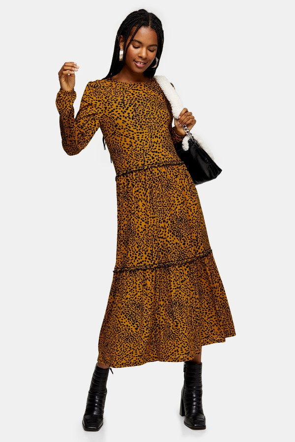 Womens Mustard Animal Mesh Tiered Smock Midi Dress - Mustard