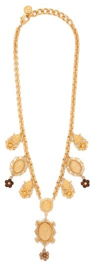 Dolce & Gabbana - Charm & Faux-pearl Necklace - Gold