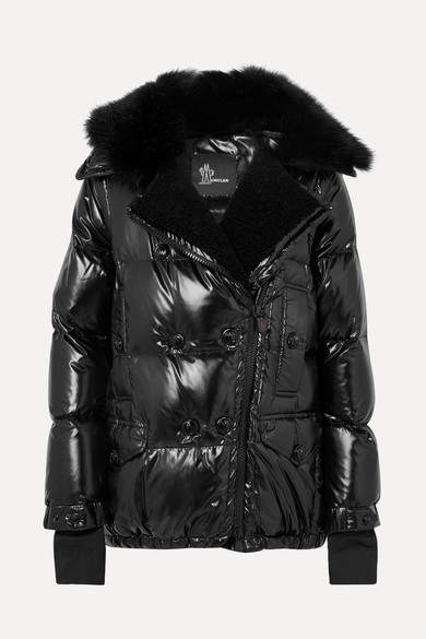 Moncler Grenoble - Seelisberg Shearling-trimmed Quilted Glossed-shell Down Jacket - Black