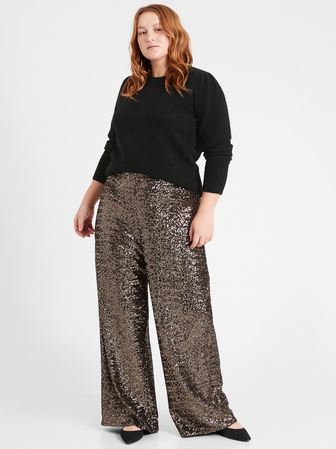 Banana Republic -High-Rise Wide-Leg Sequin Pant