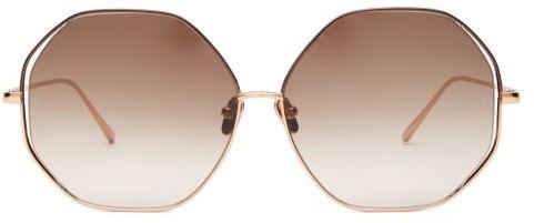 Linda Farrow - Oversized Hexagonal-frame Sunglasses - Womens - Beige