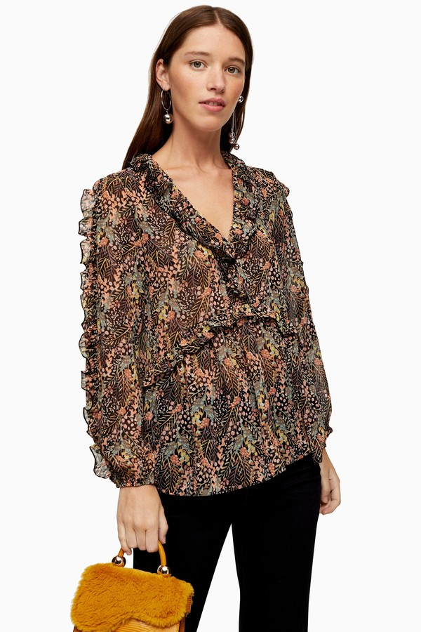 Womens Autumn Leaf Print Blouse - Multi
