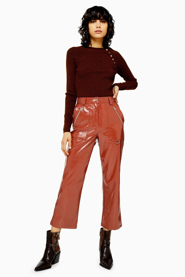 Womens Brown Faux Leather Vinyl Straight Leg Trousers - Brown