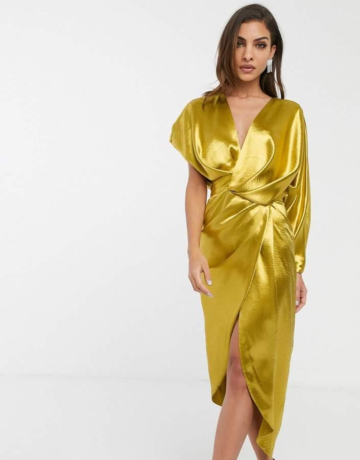 ASOS DESIGN high shine satin drape wrap midi dress with asymmetric sleeve