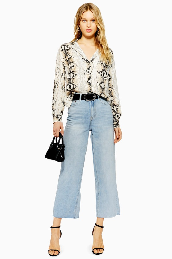 Womens Bleach Cropped Wide Leg Jeans - Bleach Denim