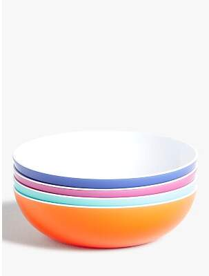 John Lewis & Partners Summer Party Plastic Pasta Bowls, Set of 4, 17.5cm, Assorted