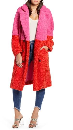 Arrival Colorblock Faux Fur Coat