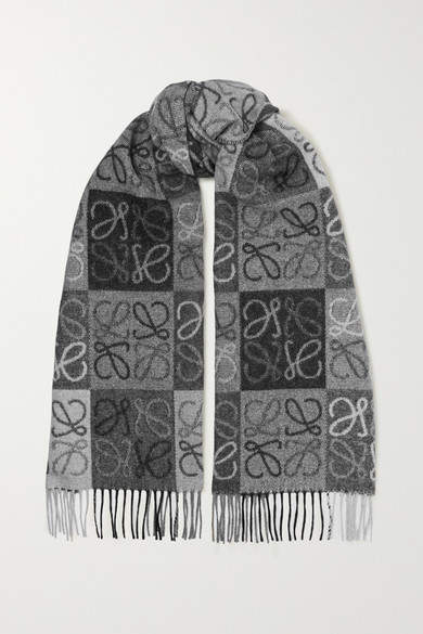Loewe - Fringed Wool And Cashmere-blend Jacquard Scarf - Gray