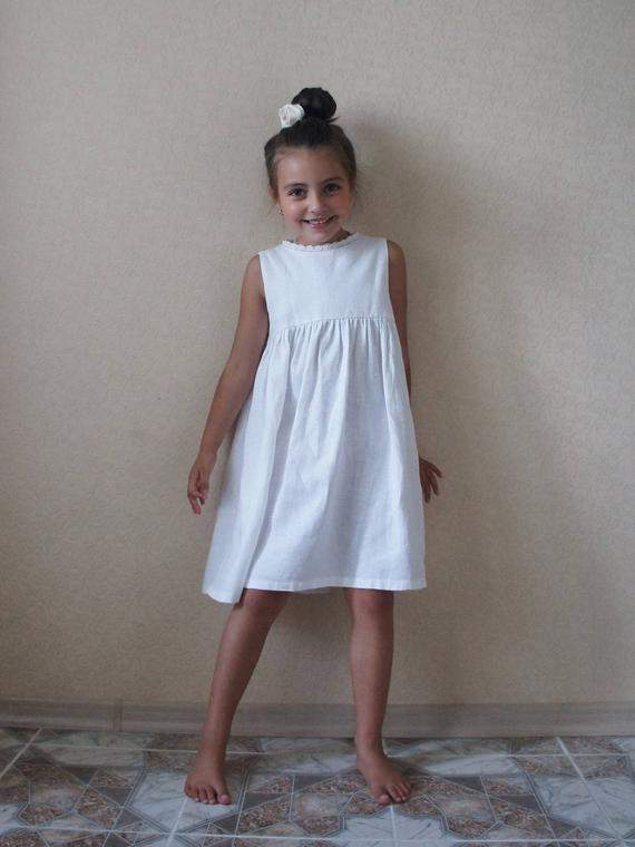 Linen dress, Linen girl dress, Bridesmaid Girl Dress, Communion Dress, Flower girls dress, Flower dress, Flower linen dress