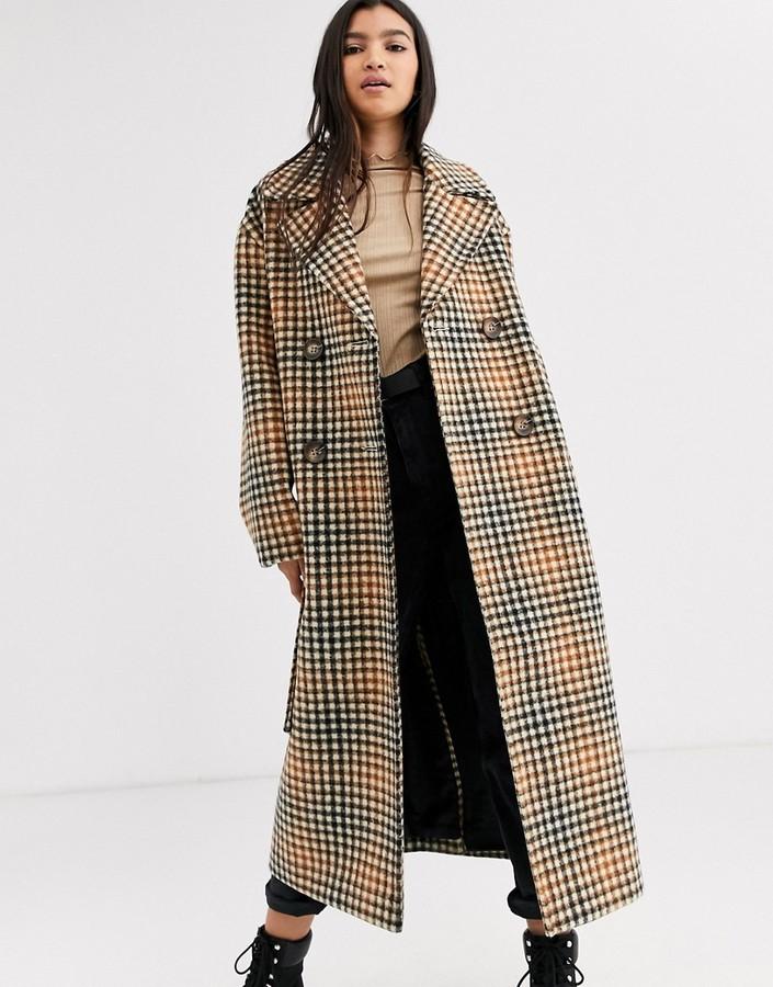 Asos Design ASOS DESIGN belted coat in check
