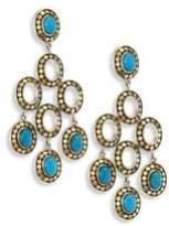 John Hardy Dot Turquoise 18k Yellow Gold Chandelier Earrings