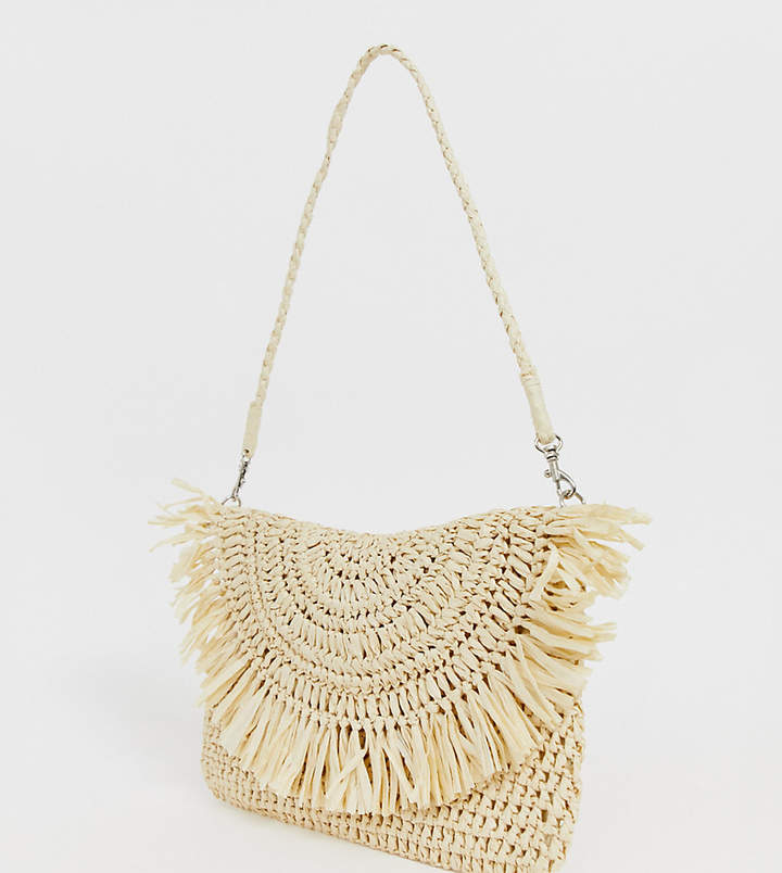 South Beach Exclusive frayed edge natural straw clutch bag with detachable shoulder strap