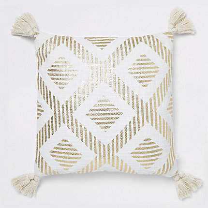 River Island Gold print cushion with tassels
