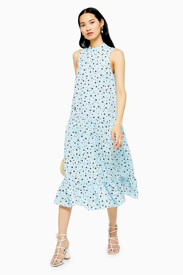 Topshop Womens Blue Floral Sleeveless Dress - Blue