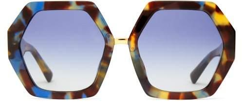 Valentino - Tortoiseshell Acetate Hexagonal Frame Sunglasses - Womens - Tortoiseshell