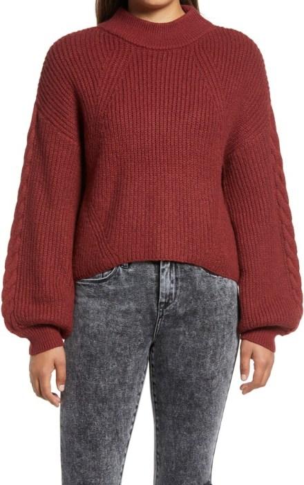BP maroon mock neck balloon sleeve sweater