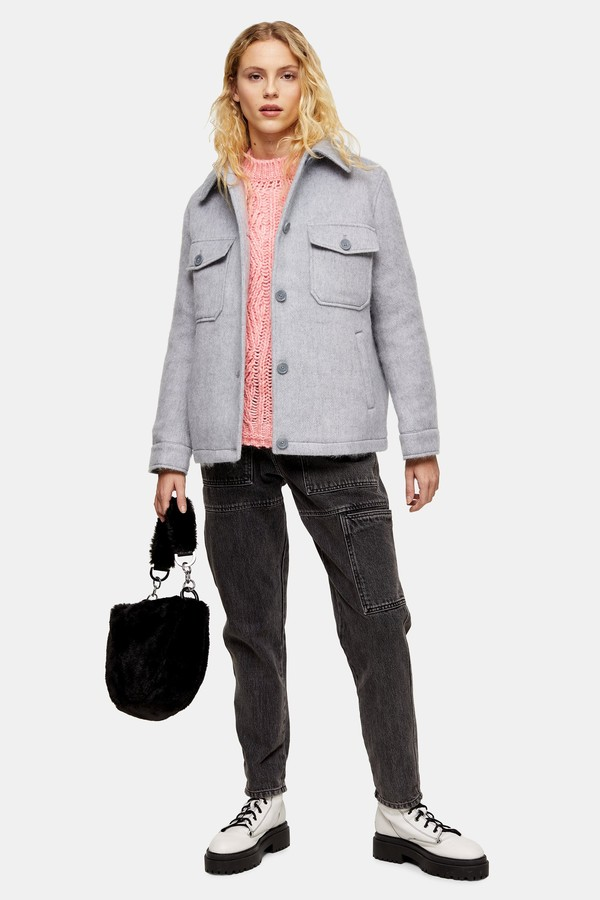 Womens Considered Grey Jacket With Recycled Wool - Grey