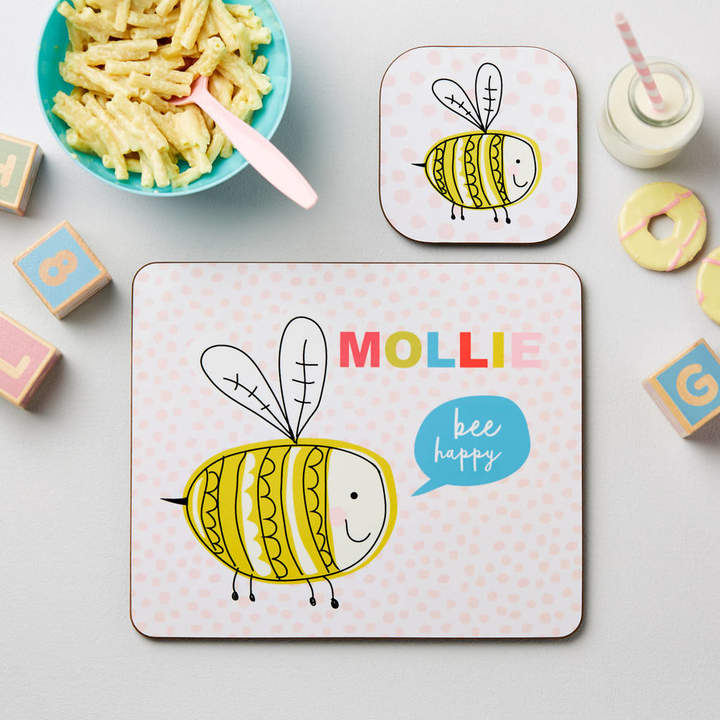 TillieMint Children's Personalised Pastel Bee Happy Placemat Set