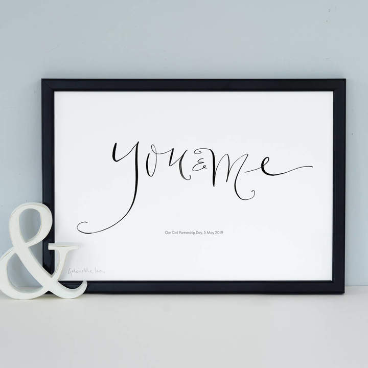 Gabrielle Izen Design Personalised Romantic Print 'You And Me'