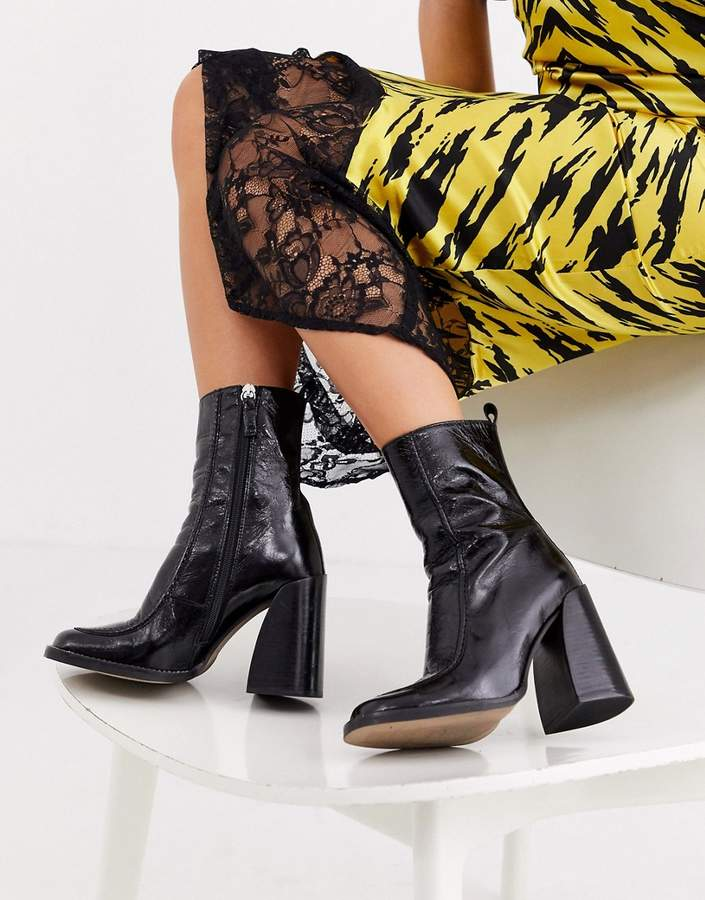 Topshop leather heeled ankle boots in black
