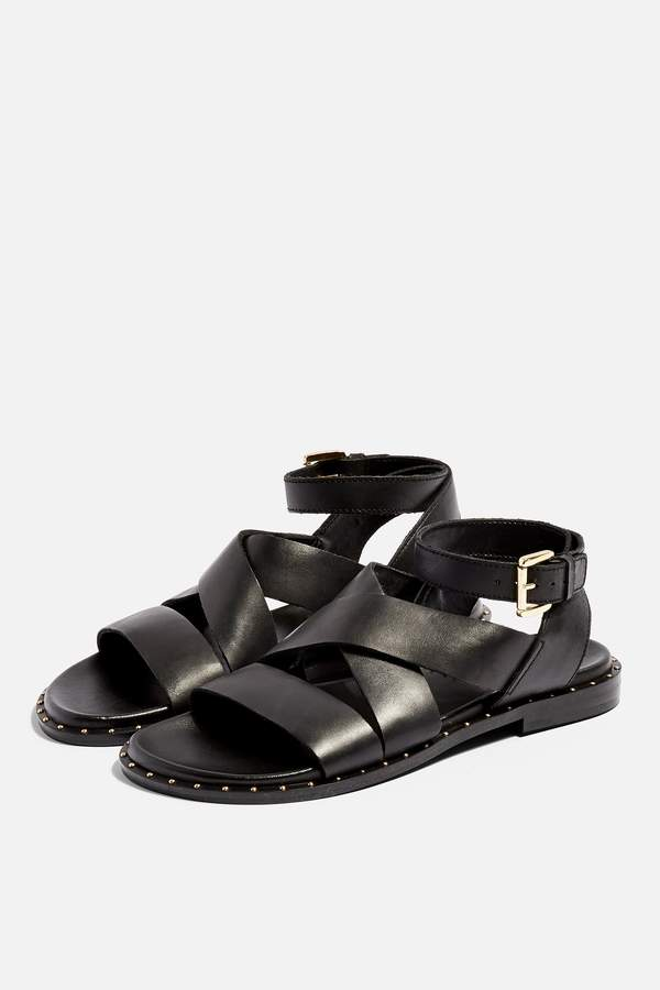 Topshop Womens **Wide Fit Hampton Footbed Sandals - Black