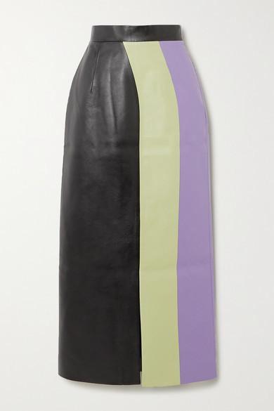 MATERIEL - Color-block Faux Leather Midi Skirt - Light green