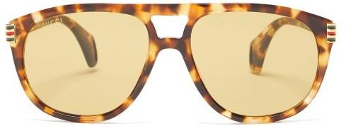 Gucci - Aviator Tortoiseshell-acetate Sunglasses - Womens - Tortoiseshell