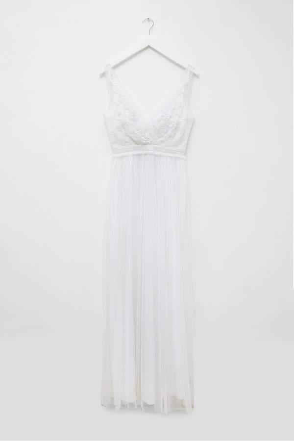 Womens French Connection White Emelina Embellished V-Neck Dress