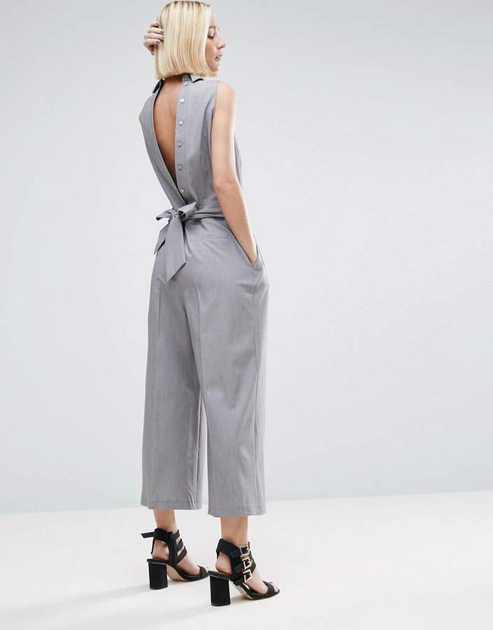 Asos Design ASOS Jumpsuit with Shirt Detail and Tie Back