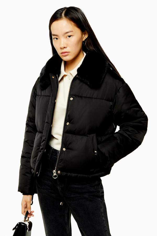 Womens Black Padded Puffer Jacket With Faux Fur Collar - Black