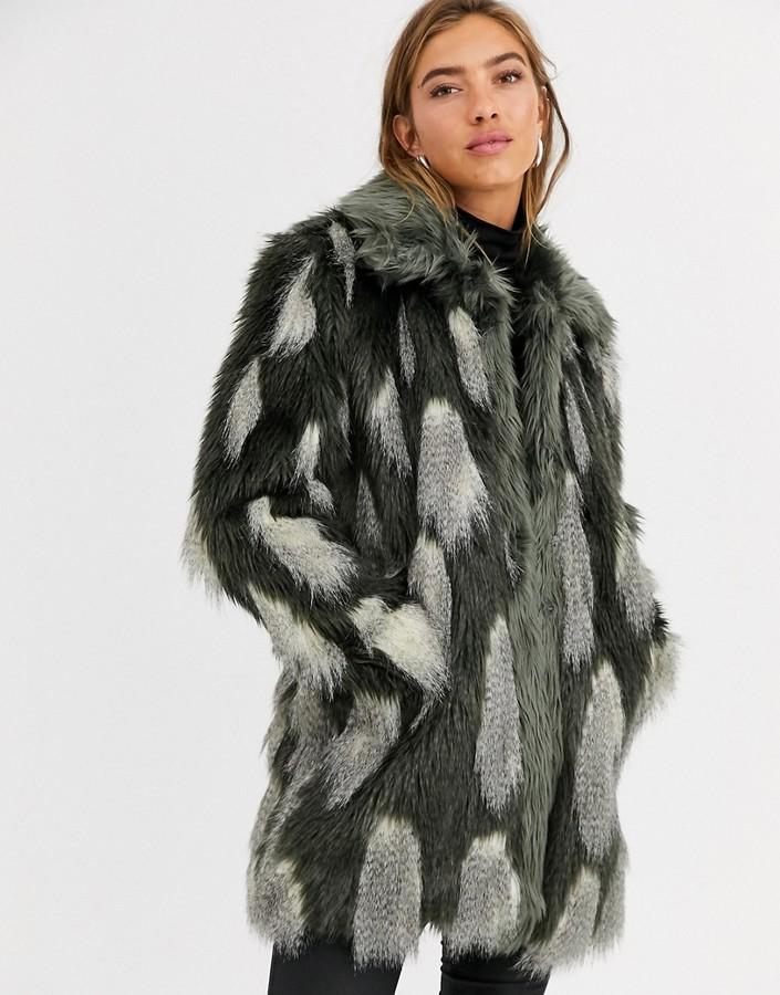Urbancode longline coat in textured faux fur